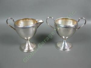 Beautiful Antique Weighted Sterling Silver 925 Creamer & Sugar Bowl Set 224 Gram