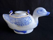 "Blue Floral Mallard Duck Teapot 8.5"" Porcelain China and Tea Bag Holder Lid"