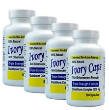 4 IVORY CAPS GLUTATHIONE SKIN WHITENING 1500 MG THISTLE exp 3/2021 or better