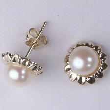 WHITE PEARL EARRINGS 14K SOLID YELLOW GOLD #E101