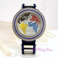 Gents Ladies Unisex Rapper Ice Gem Pimp Bling HipHop Crystals Blue Globe Watch