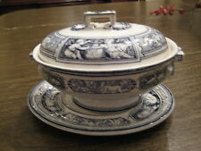 Wedgwood Rare Pearlware Sauceboat, tureen  Cover & Stand, Blue Print,19th Cent.