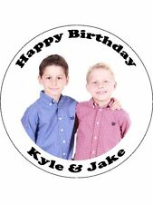12 PRE CUT EDIBLE WAFER CUPCAKE TOPPERS LARGE 2INCH PERSONALISED PHOTO TEXT