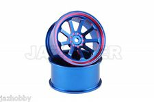 Jazrider Aluminum 1/10 RC On Road Touring Car 9-Spokes Wheels (2pcs,Blue) Set