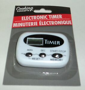 Cooking Concepts Electronic Kitchen Timer ClipMount BLACK NIP **