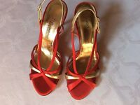 DOLCE&GABBANA Pumps Sandaletten Damenschuhe Gr. 37,5 NP620 Rot/Gold Textil Super