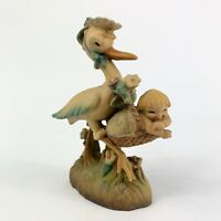 "Anri Ferrandiz Sweet Arrival Stork With Baby Boy Blue Blanket Vintage -No Box 3"""
