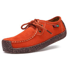Women's Snail Lace-up Flat Casual Leather Shoes Suede Boat Sneaker Breathable