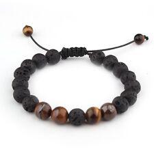 8mm Natural Lava Stone Tiger Eye Stone  Volcanic Rock Beads Adjustable Bracelet