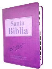 """Biblia Antigua Version RV 1909 Piel morado Indice letra grande """"Personalizada"""""""