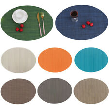 Oval Placemat Solid Color Non-Slip Heat Insulation Coaster Table Tableware Mats