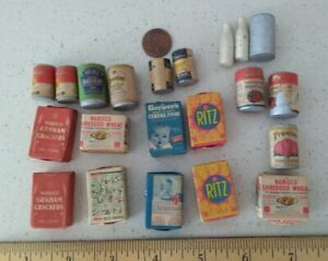 Playtown Vintage Dollhouse Miniatures Food Groceries Kitchen Pantry cans boxes
