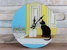 Retro cat glass wall clock 17cm