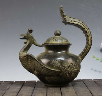 China  Old  bronze  The shape of the Phoenix  Carved flower  Teapot