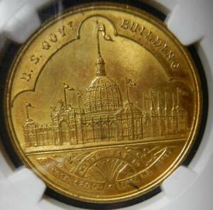 1893 World's Columbian Expo - Gilt Official Medal-Small Letters HK-155  NGC MS63