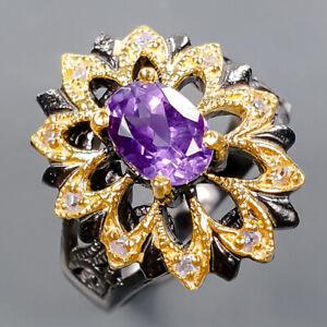 Handmade Design Amethyst Ring Silver 925 Sterling  Size 6.75 /R177221