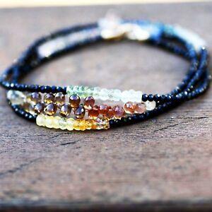 Natural Black Spinel Ombre Sapphire Wrap Bracelet Long Necklace Solid 14K Gold