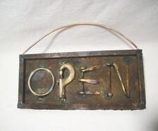 """""""OPEN"""" Sign - Altered Assemblage Art Rustic Metal Sign - Wall Hanging Primitive"""