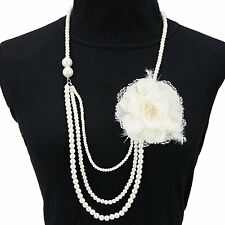 1920s Art Deco Gatsby Necklace,Faux Pearls Flapper Beads Charm Choker for Women