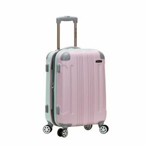 """Rockland Luggage 20"""" Hardside Lightweight ABS Expandable Carry On, Mint / Pink"""