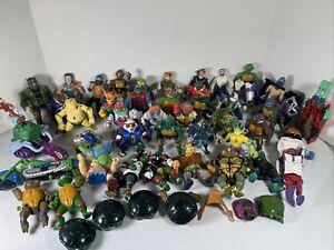 Lot Of 40+ Vintage Teenage Mutant Ninja Turtles TMNT Action Figures And Vehicles