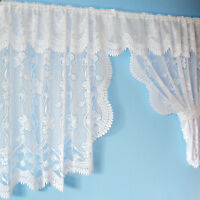 Floral Lace New Net Window Curtain Set With Pelmet & Tie Backs In White Or Cream