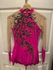 Women's Pink & Black Ice Skating Dress Size X-Small/Small +Free Shipping!