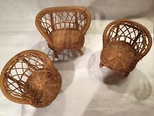 3pc Wicker Children's Doll furniture 2-chairs 1-love seat