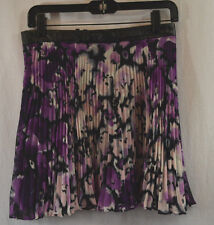 BCBGeneration Dk Violet Floral Pleat Chiffon Leather Belt Mini Skirt 8 $128 NWT