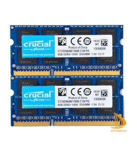 Lot Crucial 16GB 8GB 2Rx8 PC3-12800S DDR3-1600Mhz SODIMM Laptop-Speicher RAM @@e