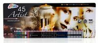 Artist's Coloured Pencils Pack of 45 With Presentation Metal Tin