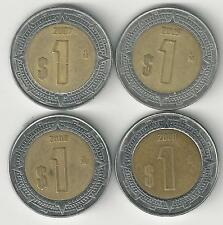 4 DIFFERENT BI-METAL 1 PESO COINS from MEXICO (2006, 2007, 2008 & 2009).