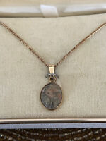 Vintage 1/20 12K Yellow Gold Filled Scarab Pendant Necklace