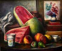 Gustavo Cochet: Still Life,  Fruit & Flower Vase 1970/Argentinean Catalan Modern