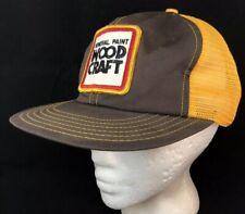 Vtg General Paint Mesh Trucker SnapBack Hat Wood Craft Patch Cap Brown Yellow