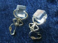 Vintage A Touch of Whimsy Clip Earrings Blocks of Clear Ice Cubes  w Silver Tone