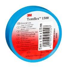 10 x Adhesifs Electricien 3M Temflex 1500 Bleu 15 mm x 10 m