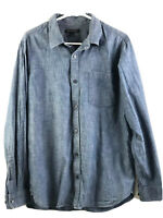 Banana Republic Denim Button Up Shirt Mens Large Blue Long Sleeve Cotton Euc