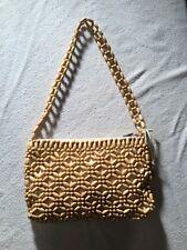 The Sak Geometric Wooden Beaded Woven Boho Zipper Shoulder Bag Purse