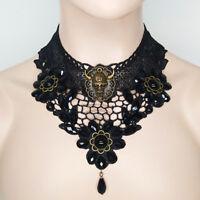 Women Black Lace Necklace Collar Choker Victorian Vintage Gothic Chain Pendant T