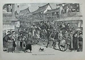 China, Shanghai - Belebte Strassenszene - Holzschnitt 1878