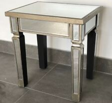 Square Venetian Mirrored Side Lamp Table Mirrored Occasional Bedside Coffee Unit