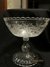 Vintage Antique Glass Compote Decorated With Frosted Swans