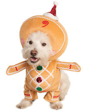 Walking Gingerbread Man Pet Dog Cat Winter Christmas Holiday Costume-L