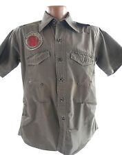 JUNK CARGO COMPANY Mens Large Brown Graphic Button Front Sort Sleeve Shirt