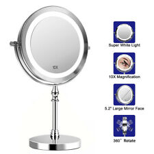 "360° 1X/10X Magnifying Makeup Mirror with LED Light 7"" Stand Adjust Double Sided"