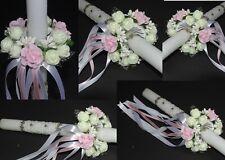 (213)  Kerzenrock weiß Rose Kreuz Tropfschutz Kerzentuch Kerzenkleid Kommunion