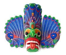 "Stunning Sri Lankan Traditional Wooden Peacock Mask 10"" Handmade Wall Hang Decor"