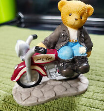 Enesco Cherished Teddies Rocky Biker Bear On A Motorcycle 2004