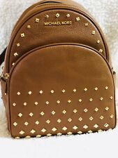 NWT MICHAEL KORS Abbey Medium Studded Leather Backpack, Brown
